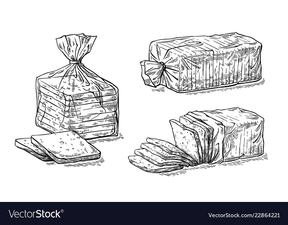 Collection of natural elements of sliced toast