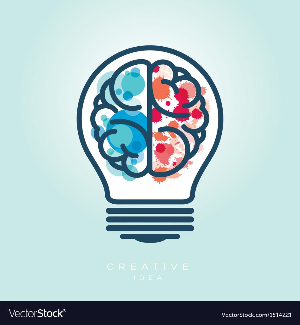 Creative light bulb left and right brain idea icon