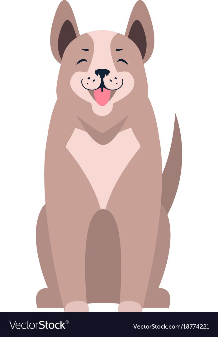Cute dog seating cartoon flat icon