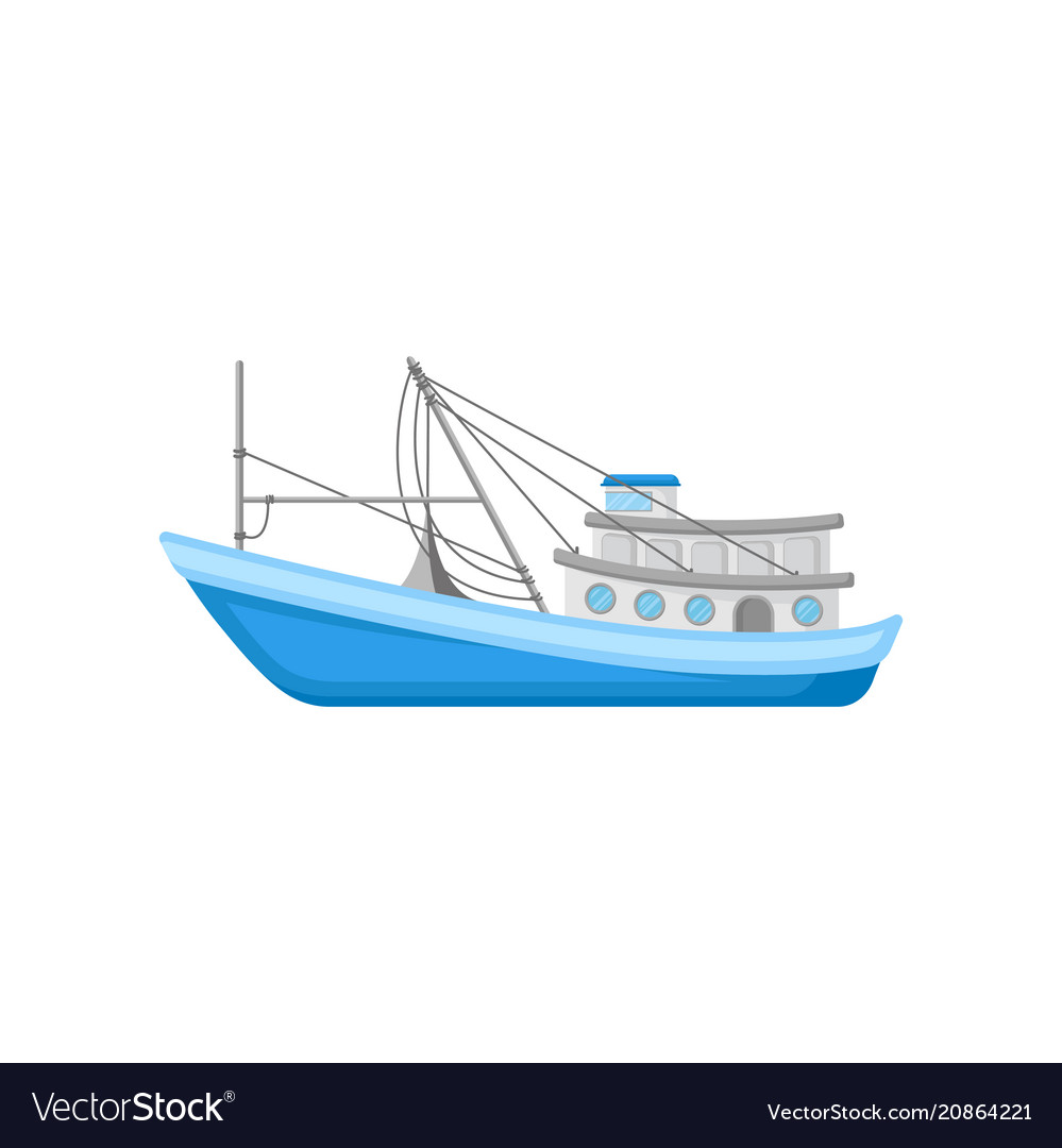 Flat icon of large commercial fishing boat