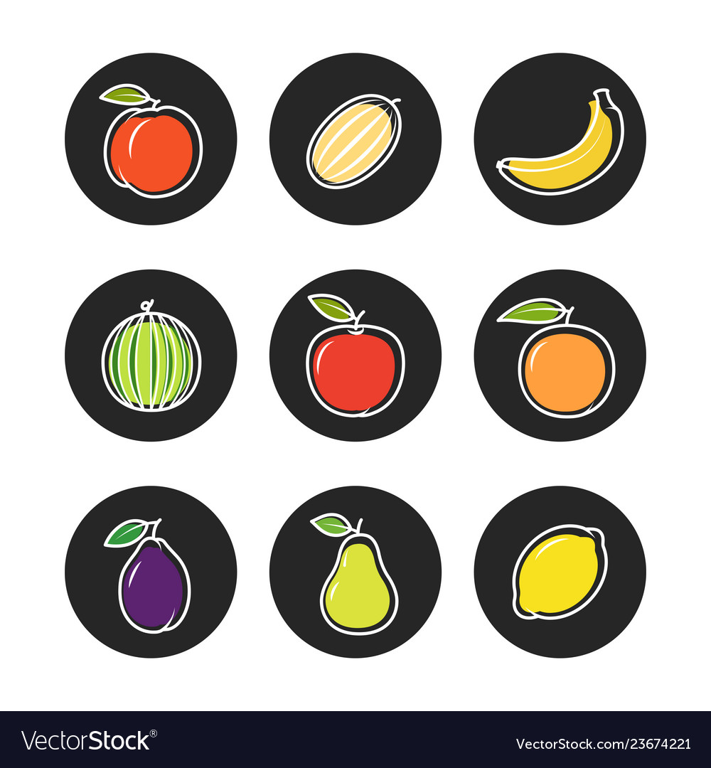 Fruit outline icons on chalk rounds of set