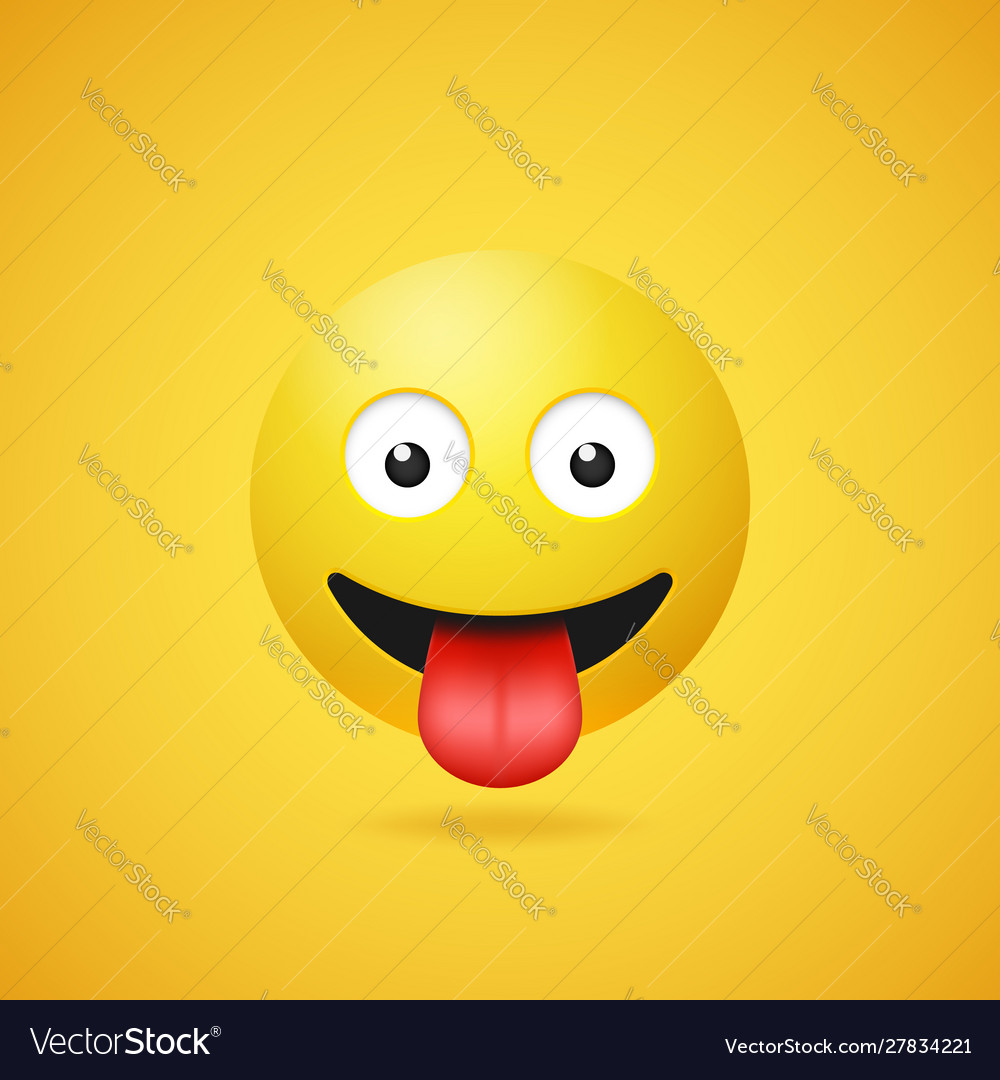 Happy smiling emoticon with stuck out tongue