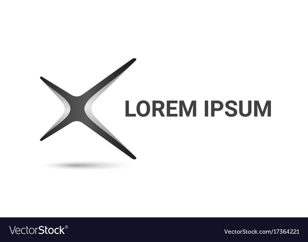 letter x logo curve style design template vector image