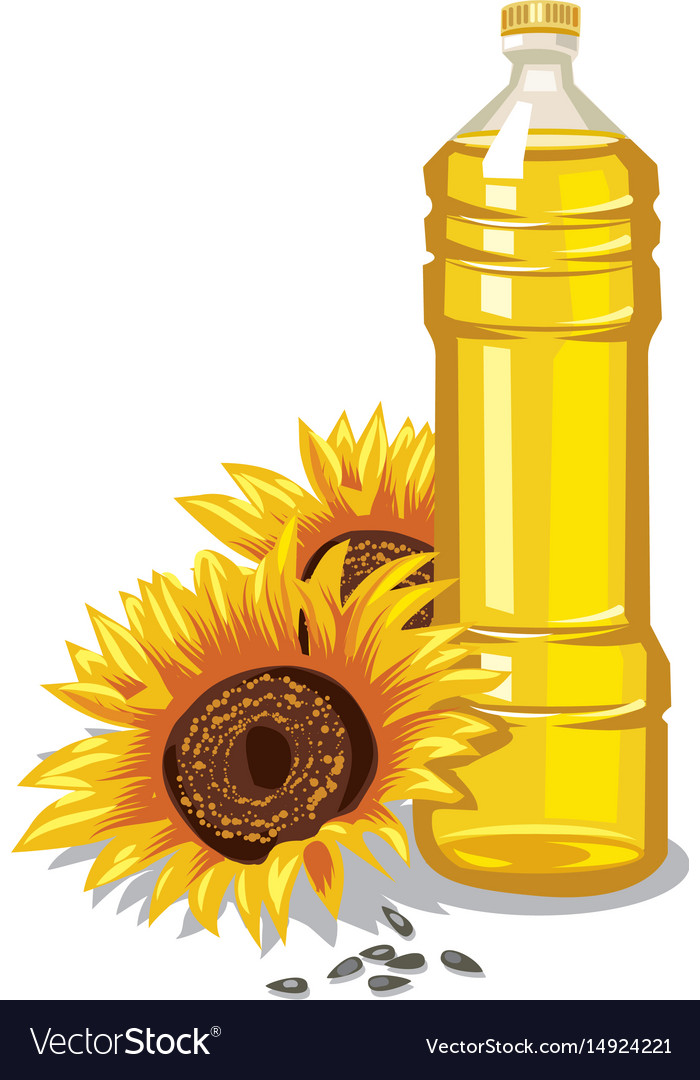 Sunflower oil bottle Royalty Free Vector Image