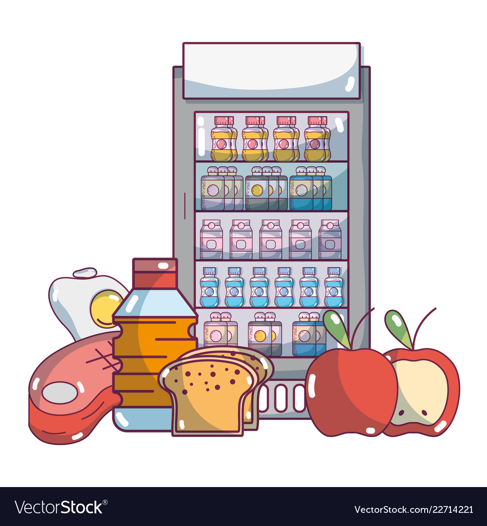 Supermarket grocery products cartoon