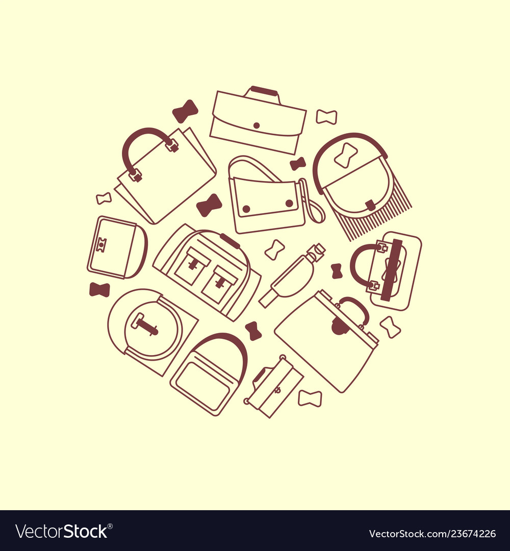 Bags and purses line icons round banner