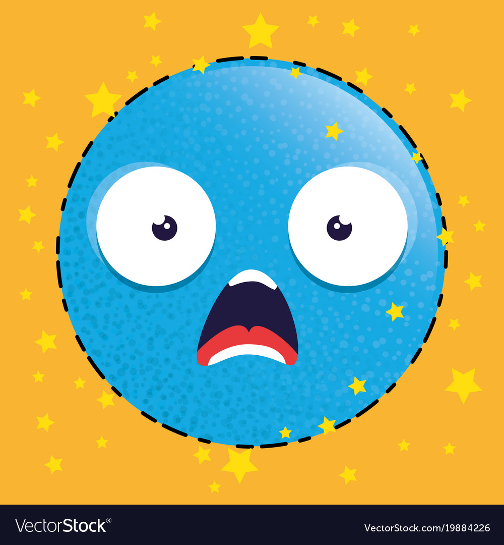 blue scared emoji emoticon character royalty free vector