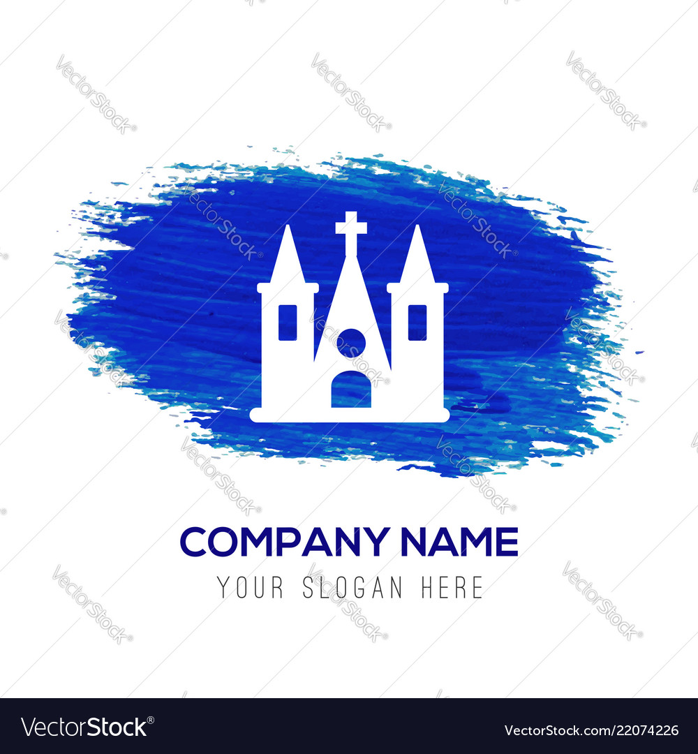 Church building icon - blue watercolor background