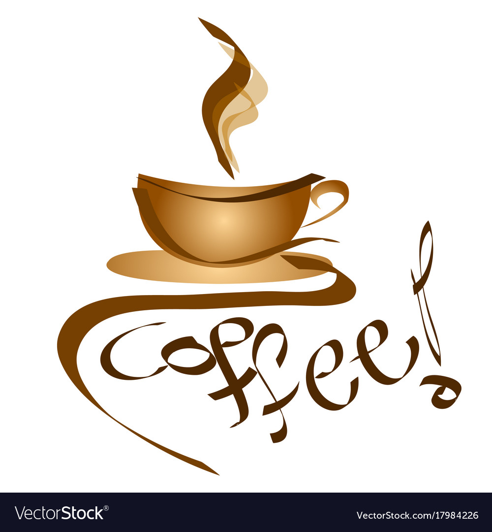 Coffee sign - logo cup of coffee Royalty Free Vector Image