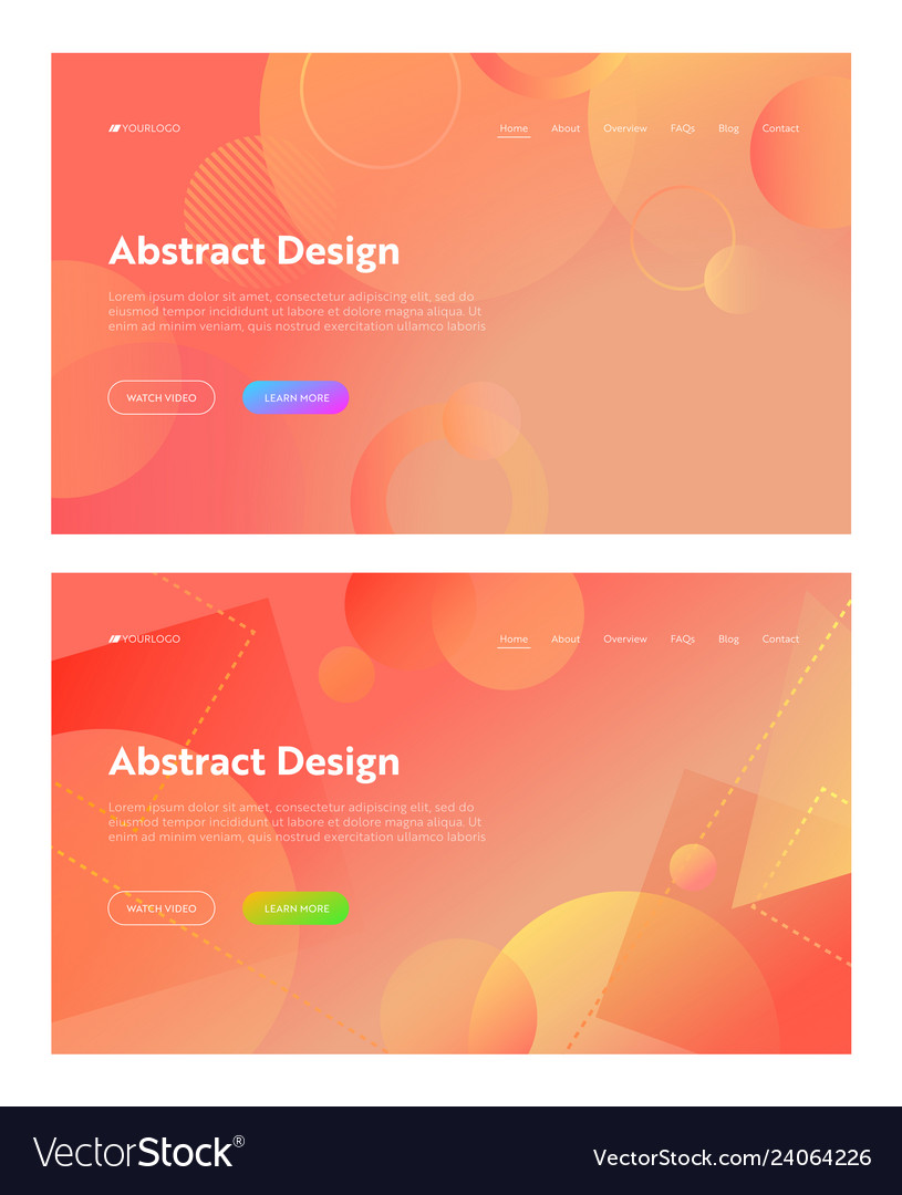 Coral abstract geometric circle shape landing page