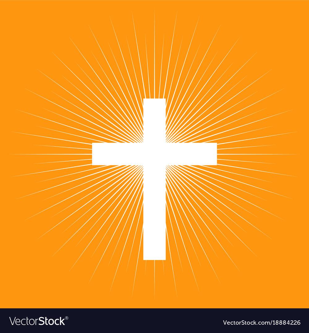 Cross on light burst background