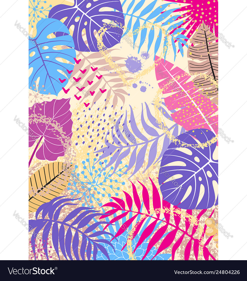 Floral background with tropical leaves and