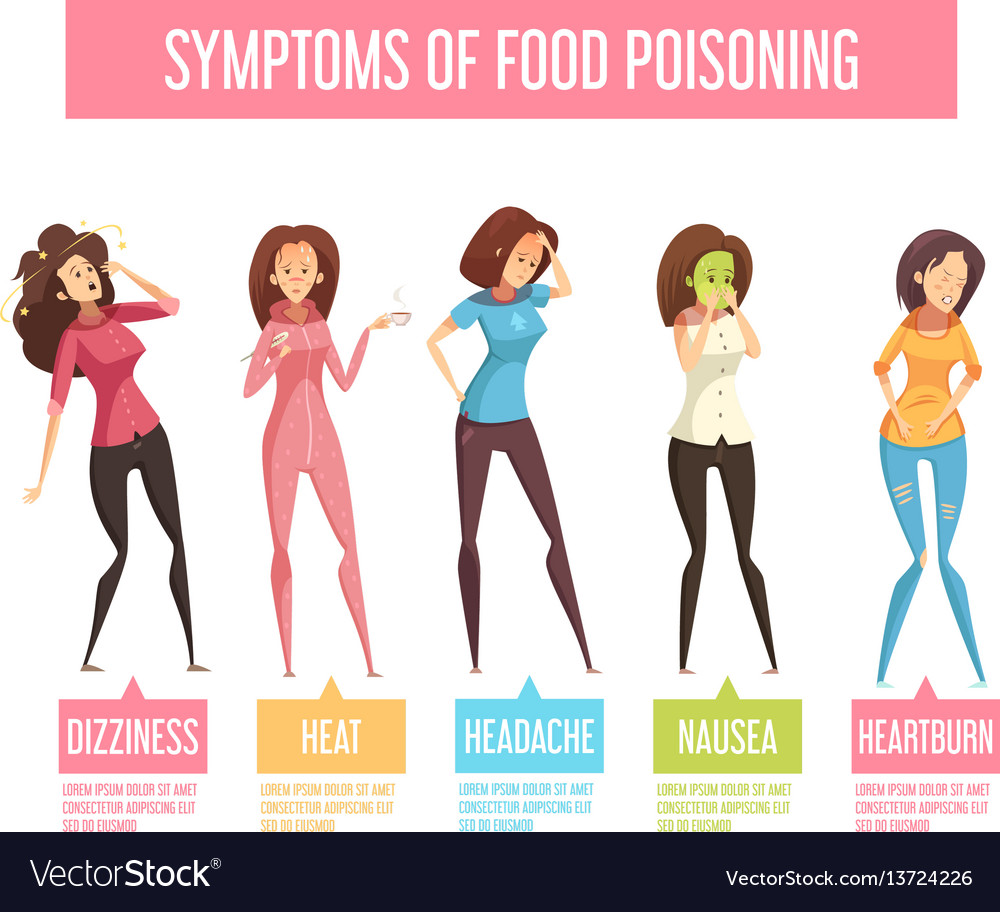 Food Poisoning Woman Symptoms An Infographic Vector Image
