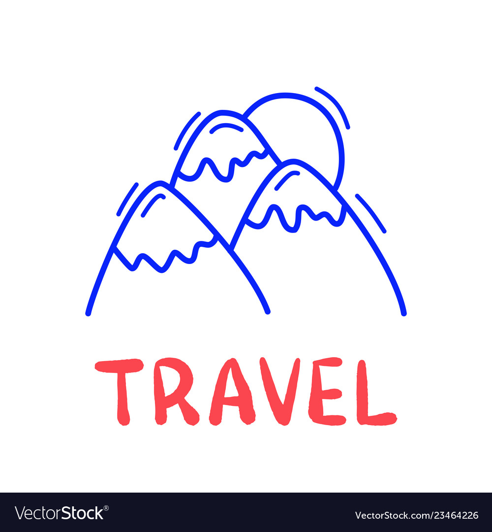 Hand draw doodle mountain and sun travel icon