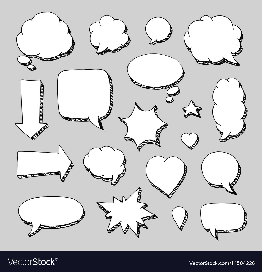 Hand drawn set of speech bubbles