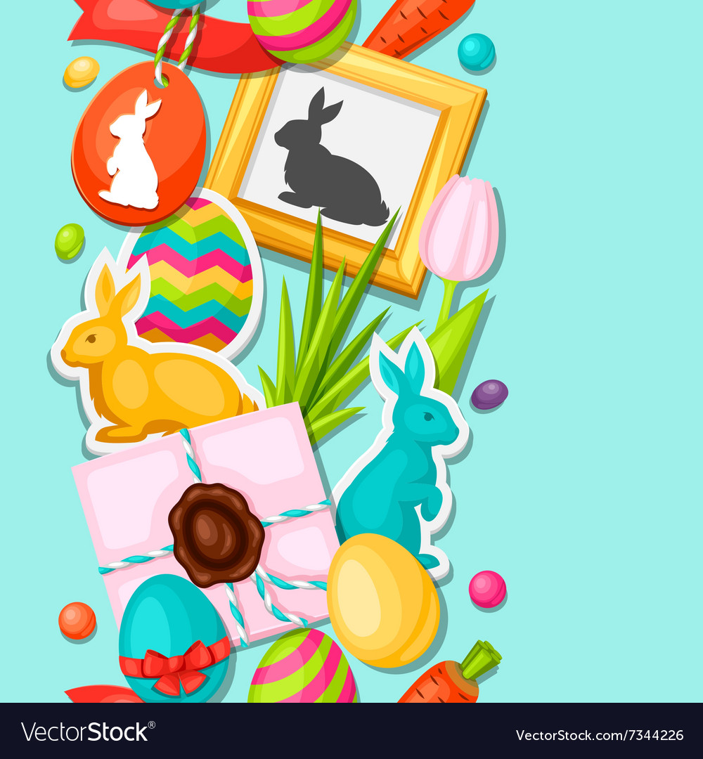 Happy Easter seamless pattern with decorative