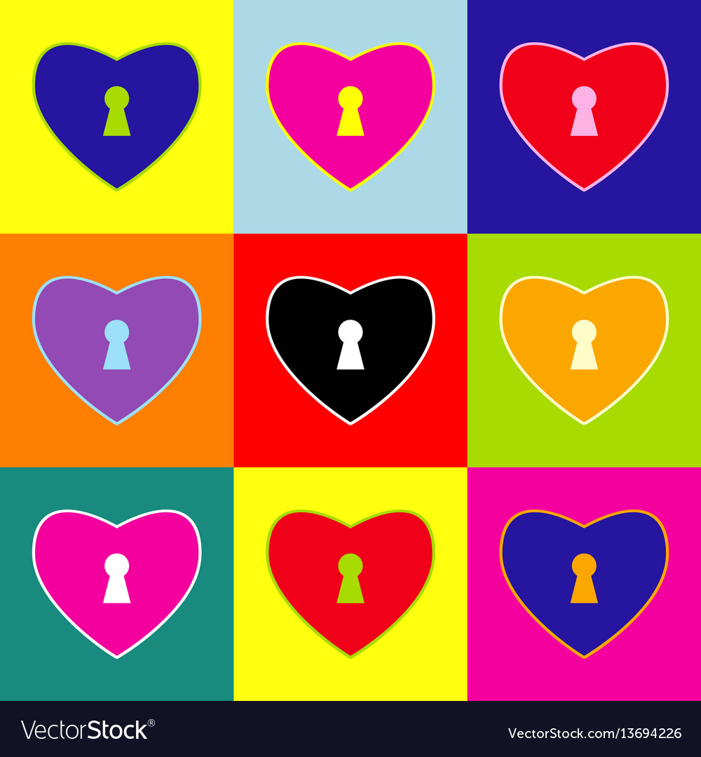 Heart woth lock sign pop-art style