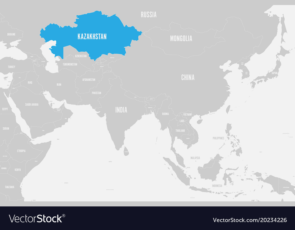 Kazakhstan Blue Marked In Political Map Of Vector Image
