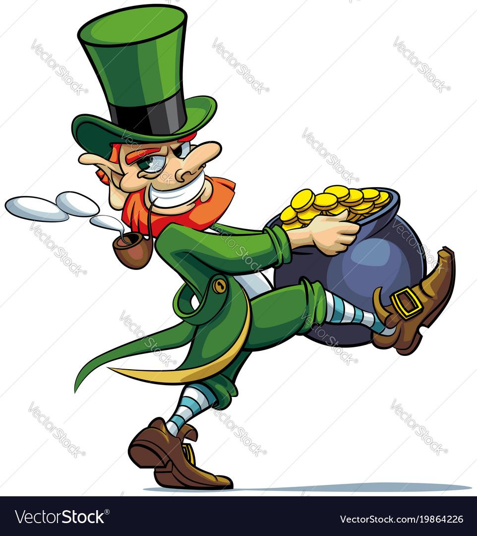 Leprechaun stealing pot of golden coins