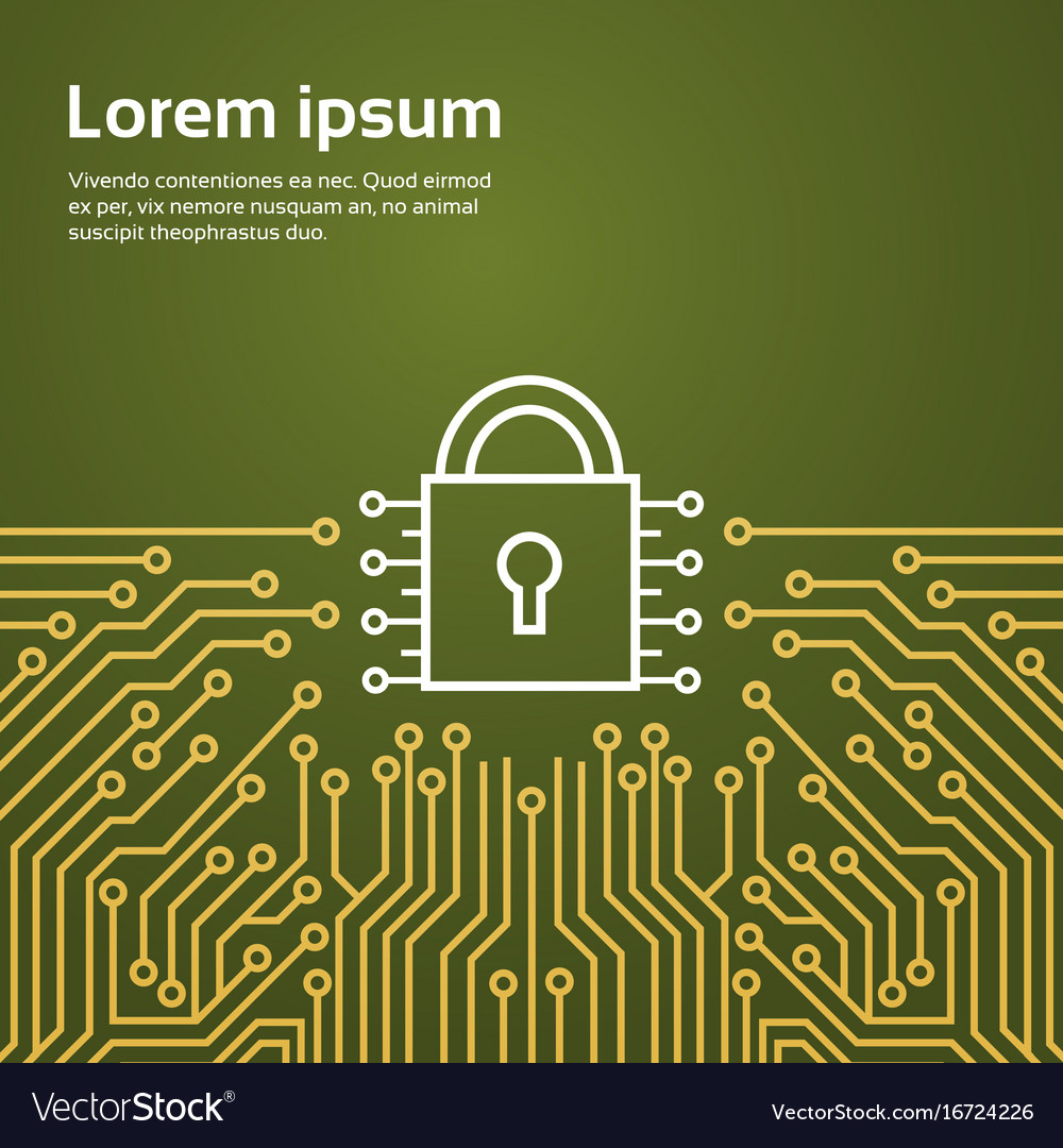 Lock network data protection system concept banner
