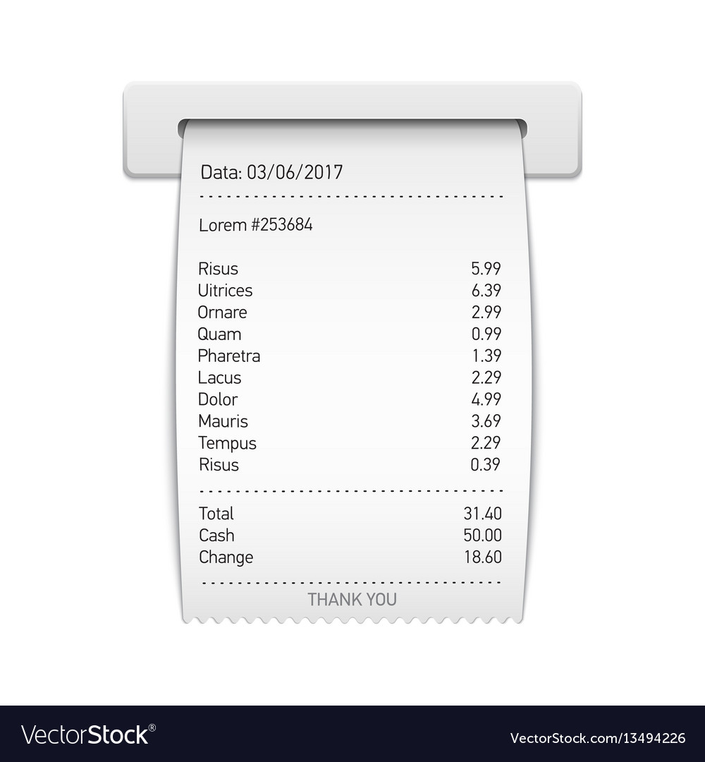 sales printed receipt sales slip shopping paper vector image