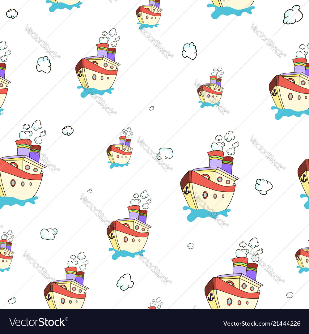 Seamless pattern with image of a ship on world