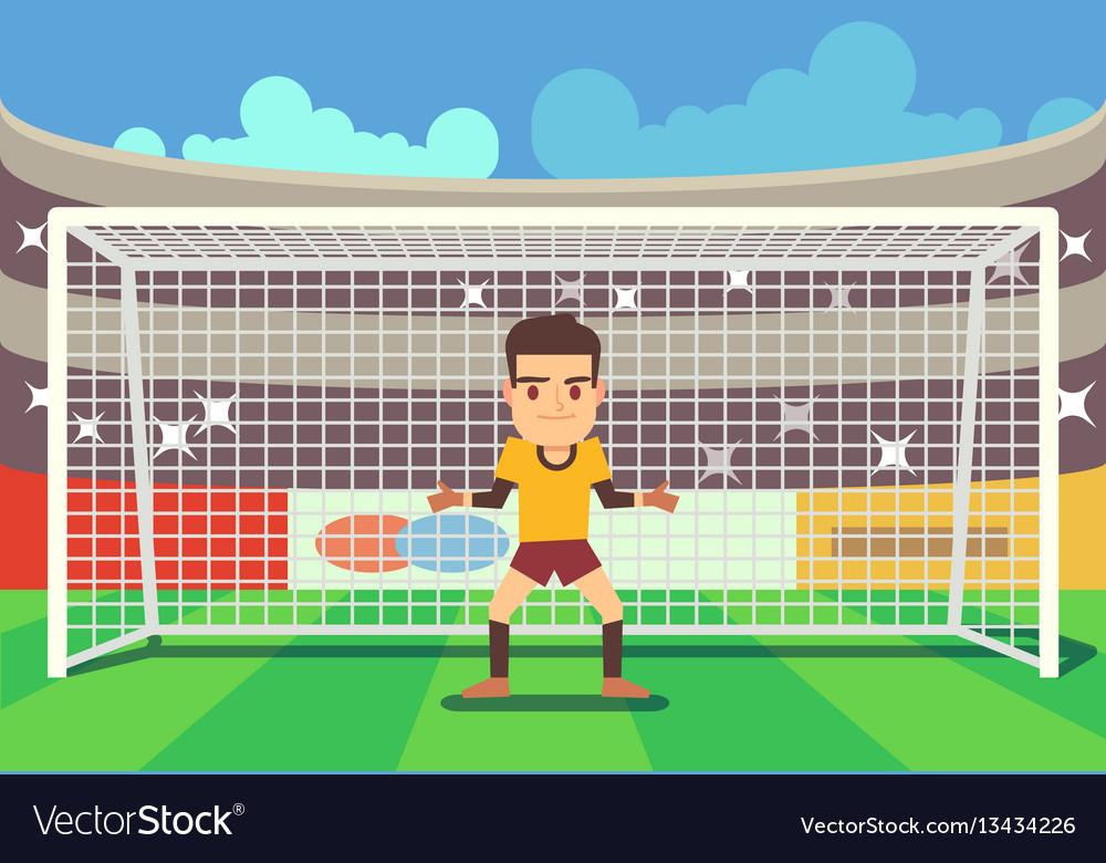 Soccer goalkeeper keeping goal