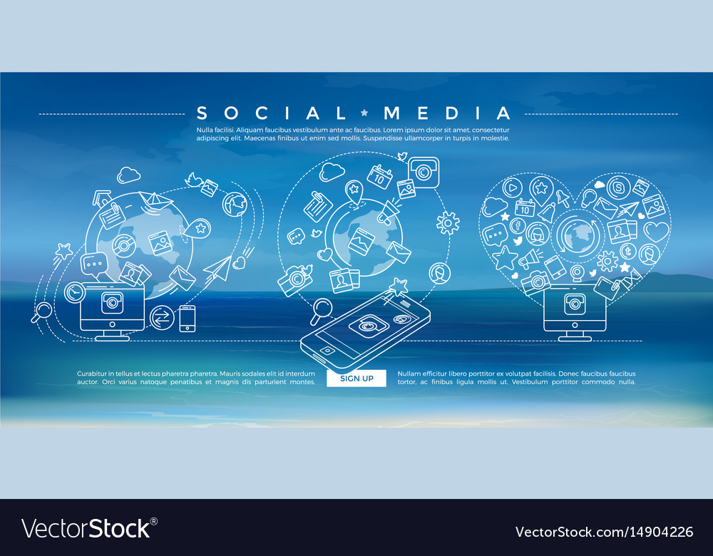 Social media blue linear vector image