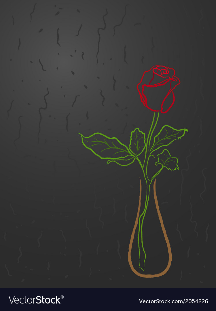 Stylized red rose in a vase over grey vector image