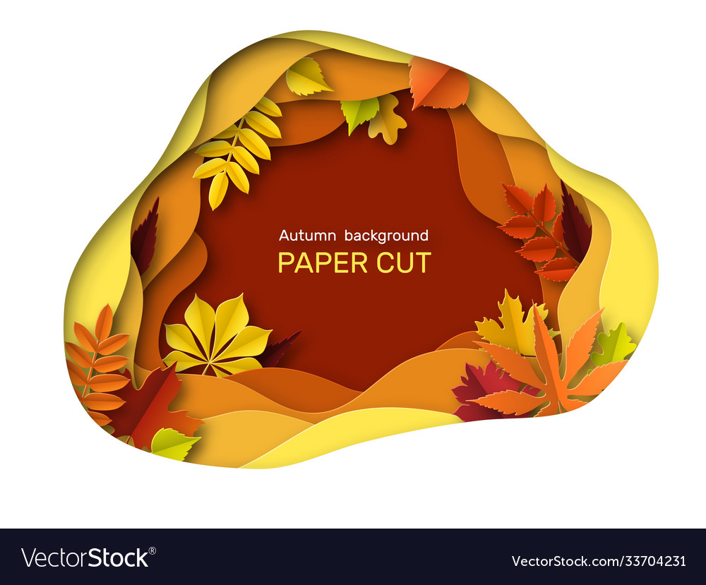 Autumn leaves background autumnal orange brown vector