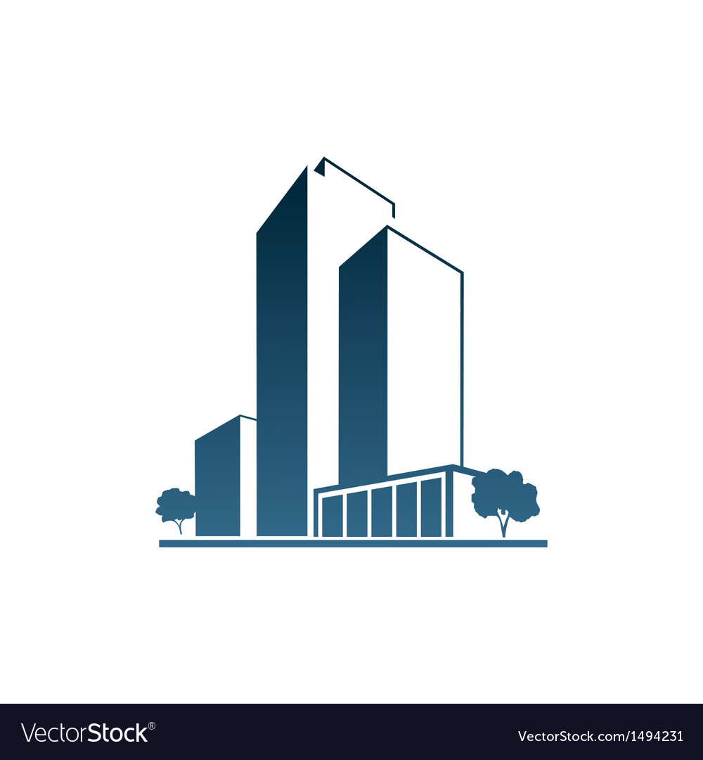 Blue Apartments Over White Background Vector Image