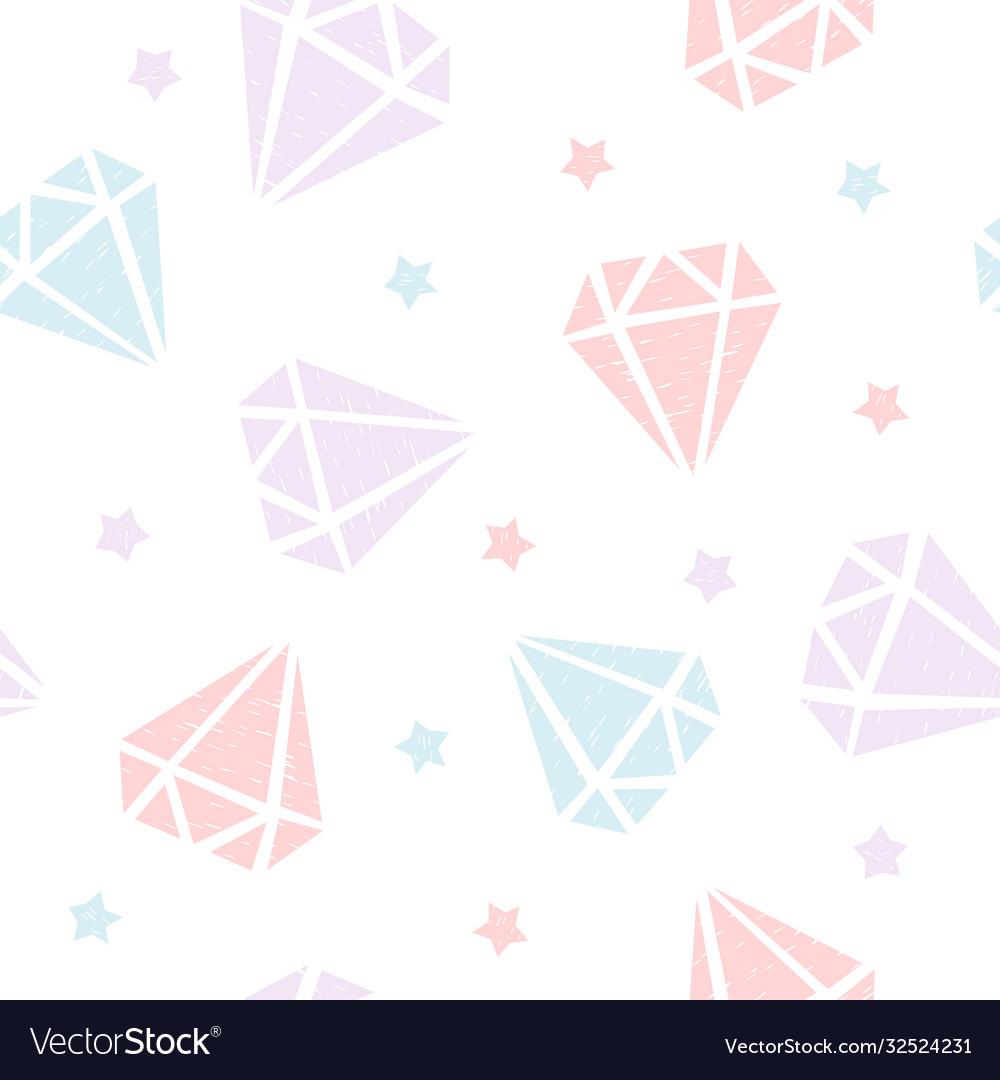 Childish seamless pattern with diamonds and stars
