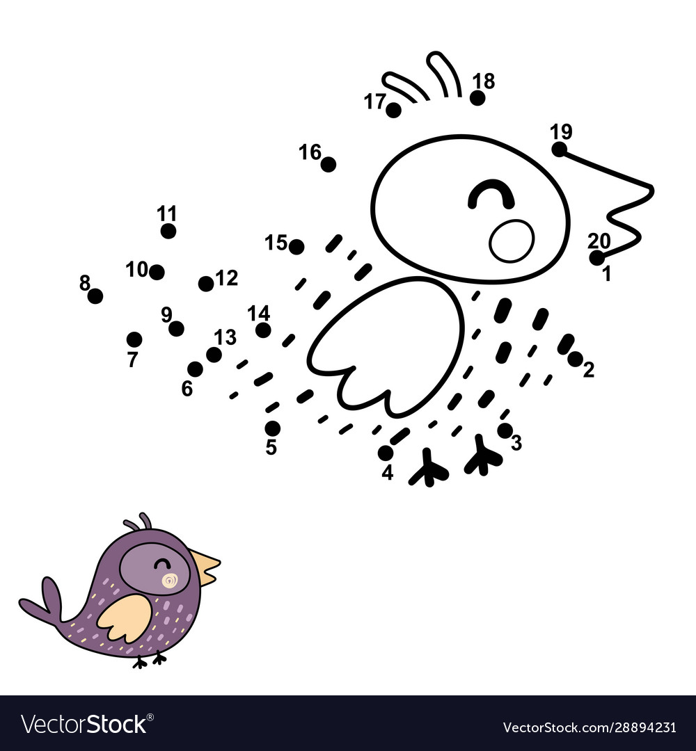 - Connect Dots Draw And Color A Funny Bird Vector Image
