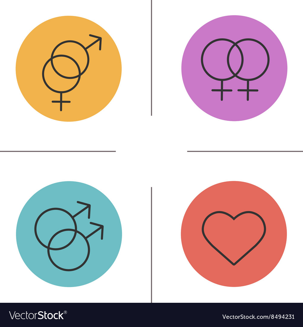 Gender symbols color icons set