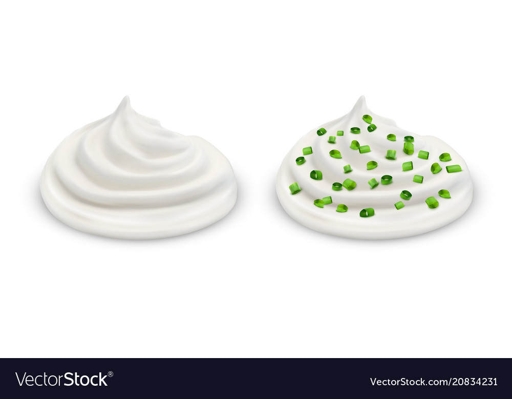 Handfuls of sour cream with sliced chives