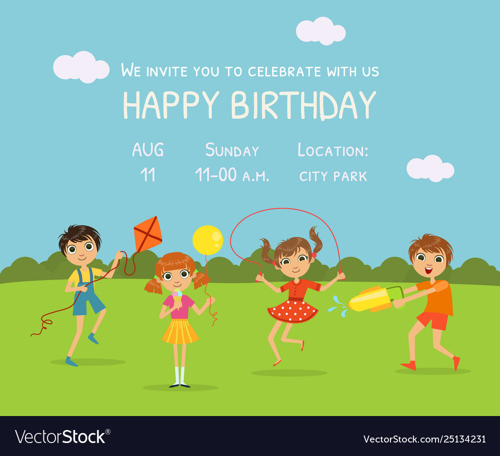 Happy Birthday Invitation Card With Cute Little