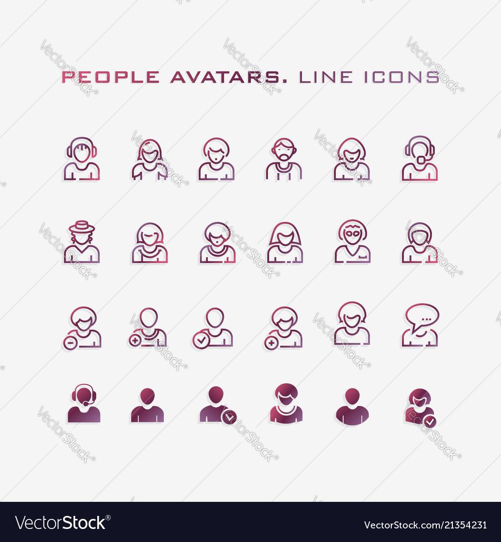 People avatars line icon