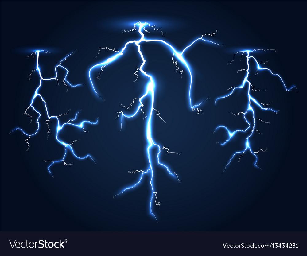 Realistic lightnings set dark night sky