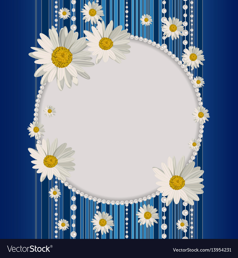 Round frame with daisies