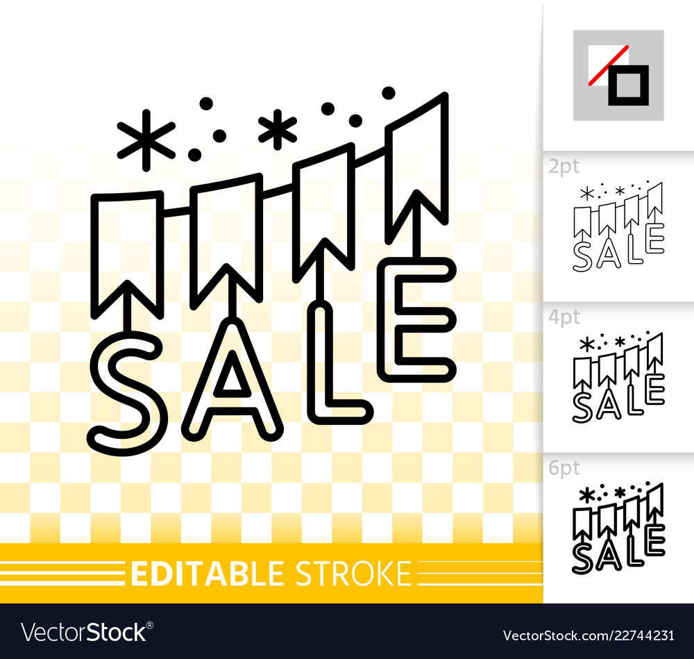 Sale banner simple black line icon