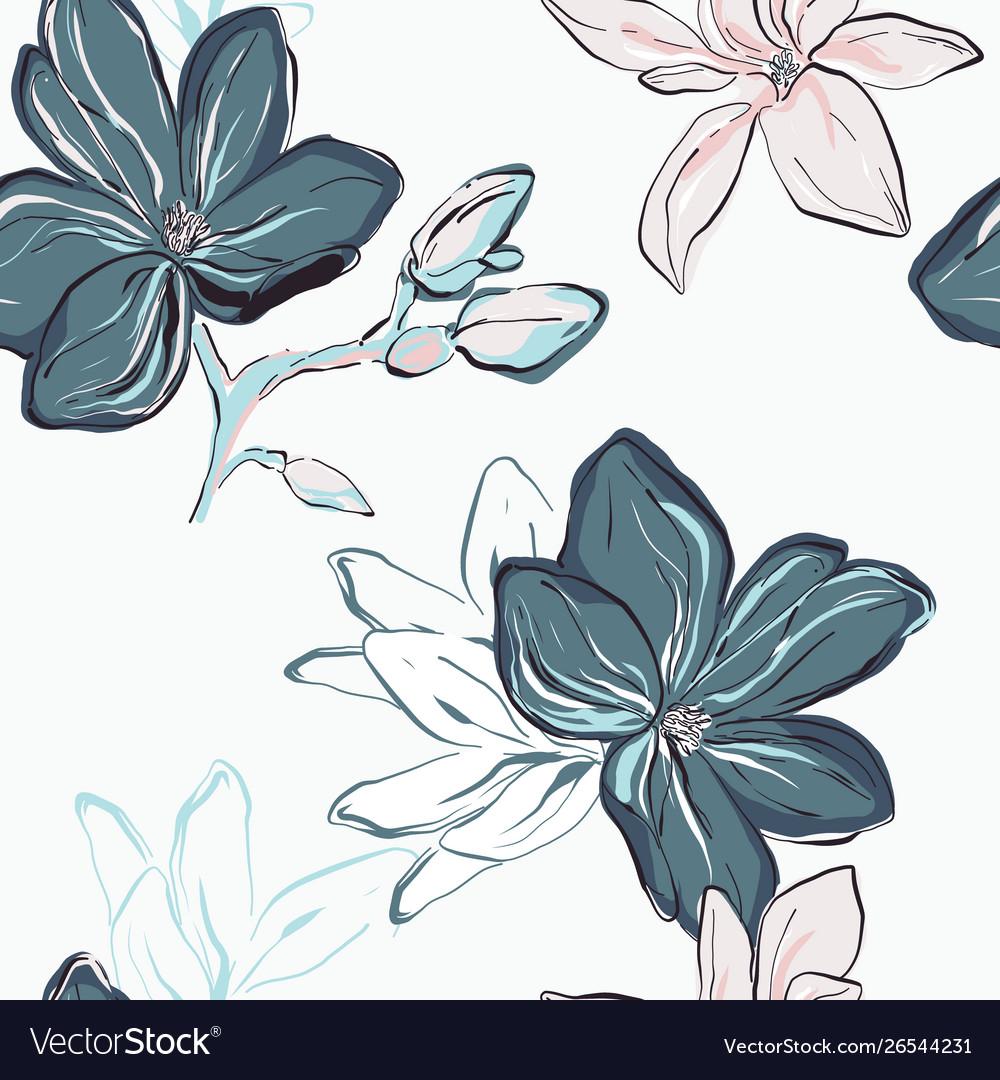 Seamless blue navy floral pattern tender blue