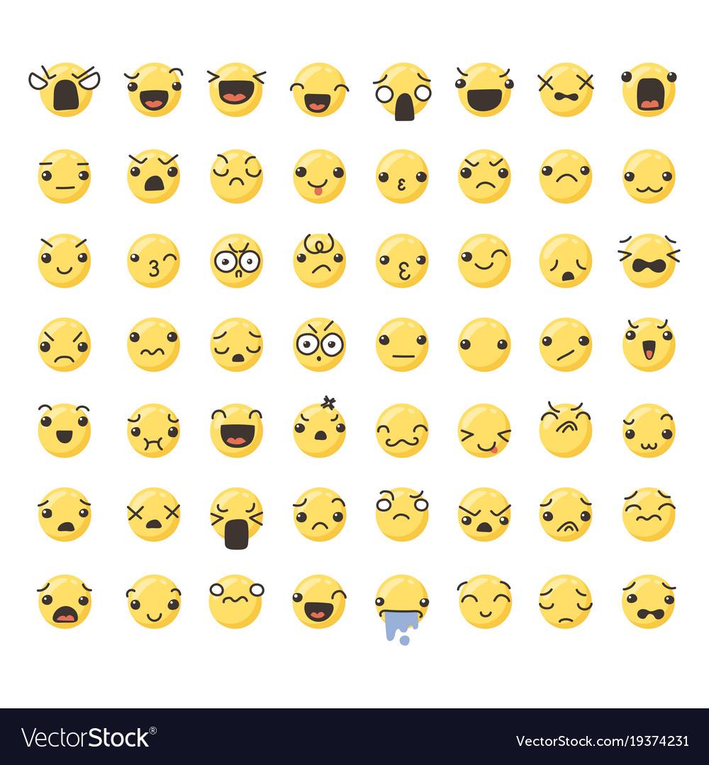 Set of cute lovely kawaii emoticon