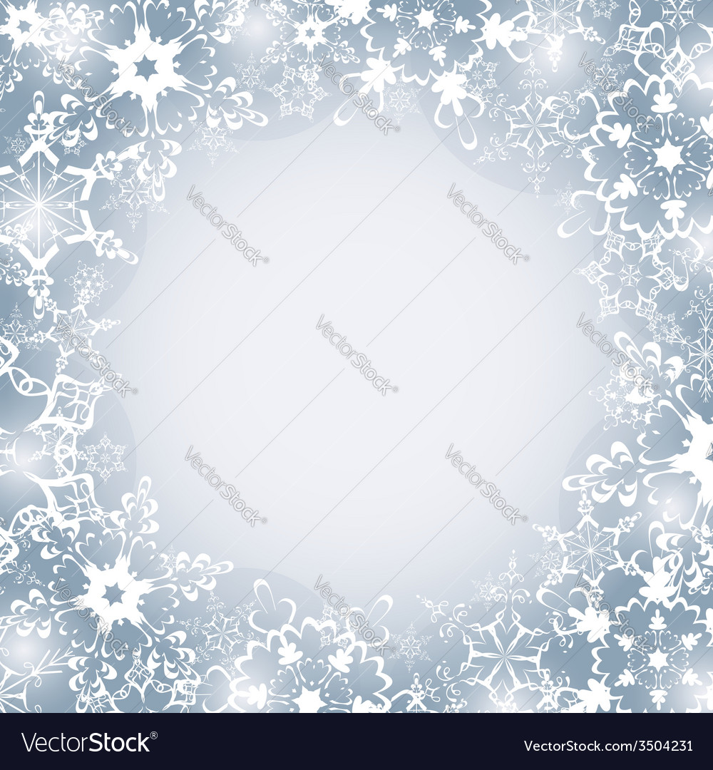 Winter seasonal frame with snowflakes Royalty Free Vector