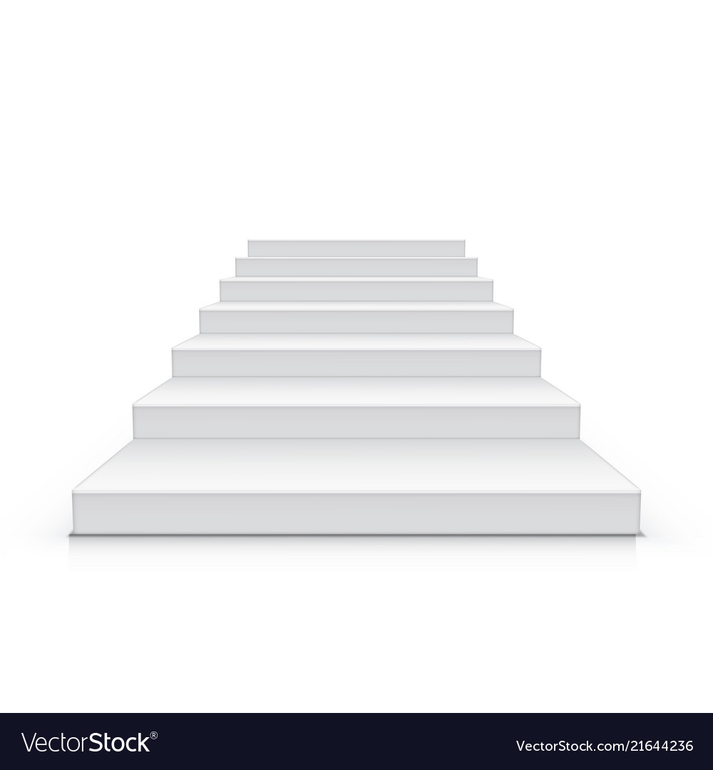 3d white clear realistic stairs isolated