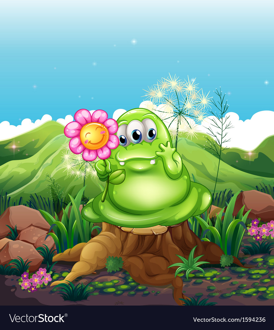 A monster with a flower standing above the stump