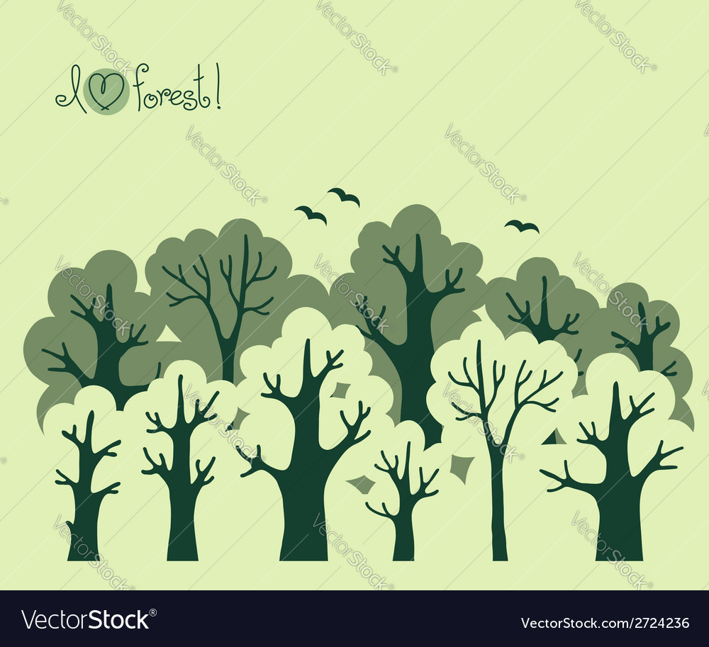 Abstract banner of green deciduous forest
