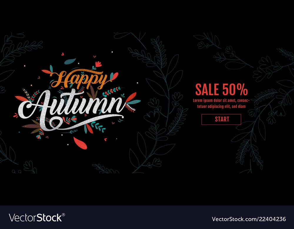 Autumn happy thanksgiving typography poster