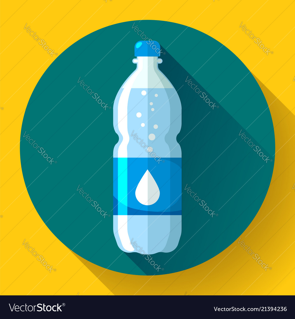 Bottle of water icon in flat style on blue