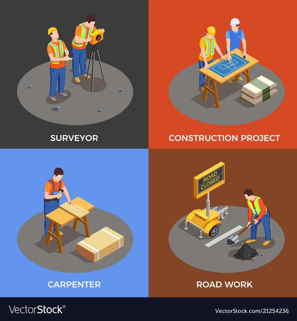 Builders isometric design concept