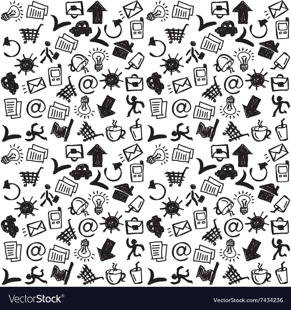 Business icons doodles black and white seamless vector image